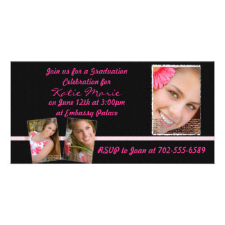 Pink and Black Graduation Invite