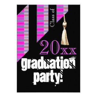 Pink and Black graduation party Invitations