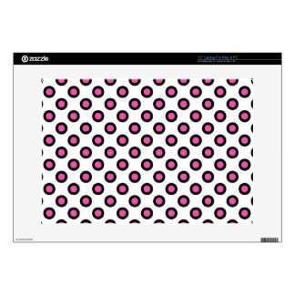 pink and black graphic circle polka dots. skin for laptop