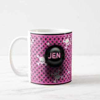 Pink And Black Grunge Custom Name Mug