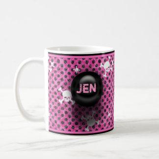 Pink And Black Grunge Custom Name Mug