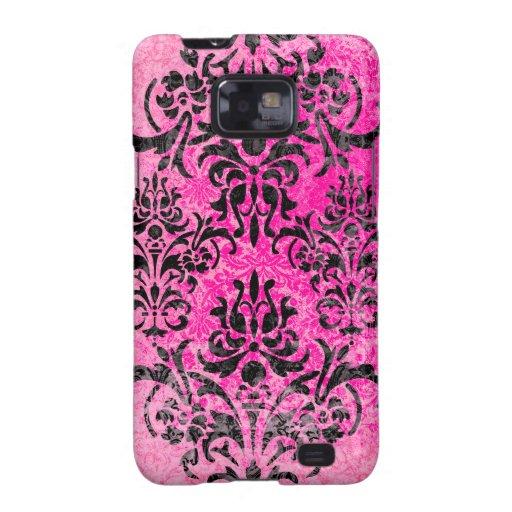 Pink and Black Grunge Vintage Damask Samsung Galaxy SII Cases
