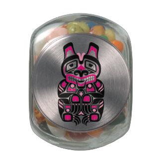 Pink and Black Haida Spirit Bear on Black Jelly Belly Candy Jar