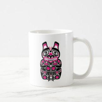 Pink and Black Haida Spirit Bear on Black Coffee Mug