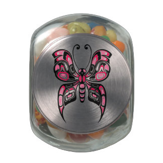 Pink and Black Haida Spirit Butterfly Glass Candy Jars