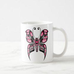 Pink and Black Haida Spirit Butterfly Coffee Coffee Mug