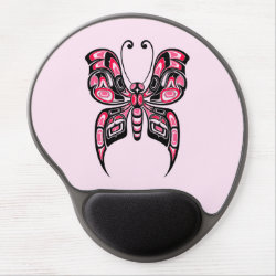 Pink and Black Haida Spirit Butterfly Gel Mouse Pad