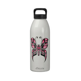 Pink and Black Haida Spirit Butterfly Reusable Water Bottles