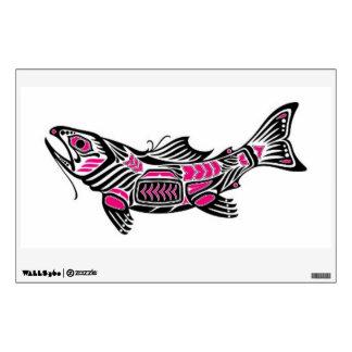 Pink and Black Haida Spirit Fish Wall Decals