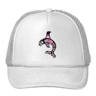 Pink and Black Haida Spirit Killer Whale Hat