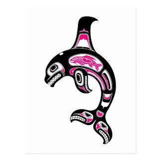 Pink and Black Haida Spirit Killer Whale Postcard