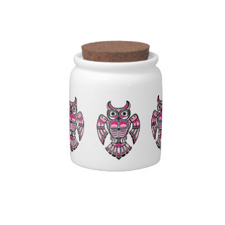 Pink and Black Haida Spirit Owl Candy Jar