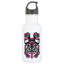Pink and Black Haida Spirit Tree Frog Stainless Steel Water Bottle