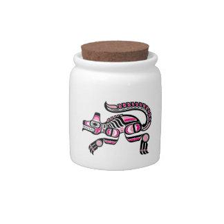 Pink and Black Haida Spirit Wolf Candy Jars