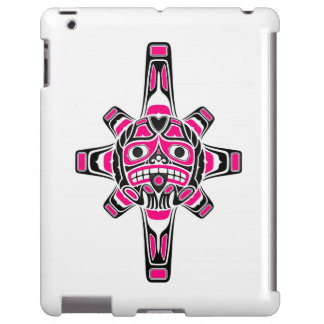 Pink and Black Haida Sun Mask on White