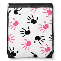 Pink and Black Handprints Drawstring Backpack