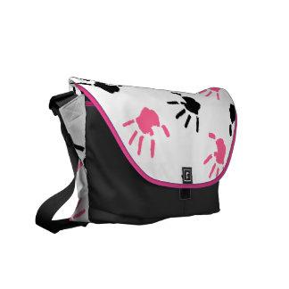 Pink and Black Handprints Messenger Bag