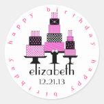 Pink and Black Happy Birthday Cakes Classic Round Sticker