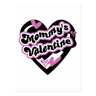 Pink and Black Heart Mommy's Valentine Postcard