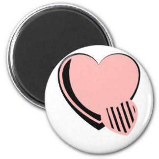 Pink and Black Hearts 2 Inch Round Magnet