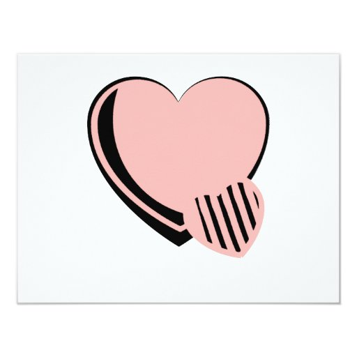 """Pink and Black Hearts 4.25"""" X 5.5"""" Invitation Card"""