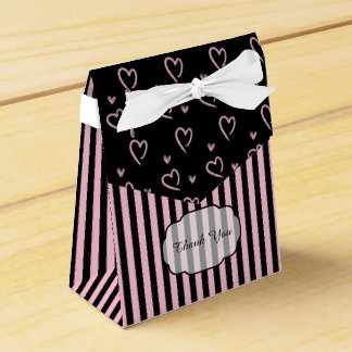 Pink and Black Hearts and Stripes Favor Box
