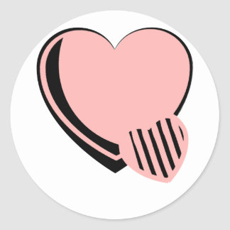 Pink and Black Hearts Classic Round Sticker