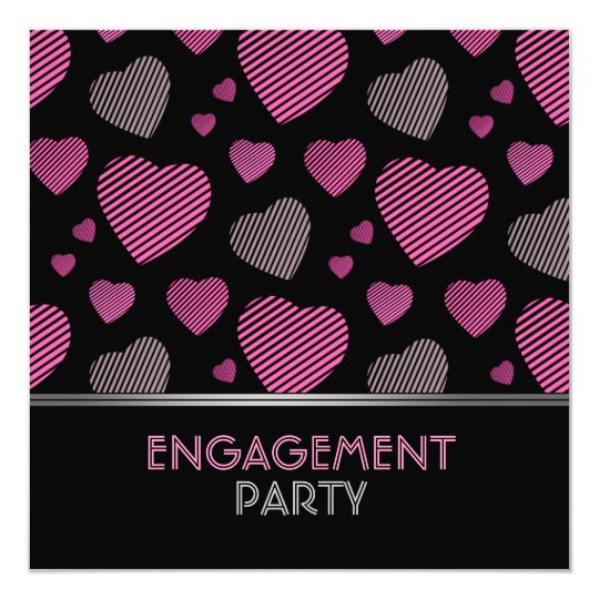 Pink and Black Hearts Engagement party invitation