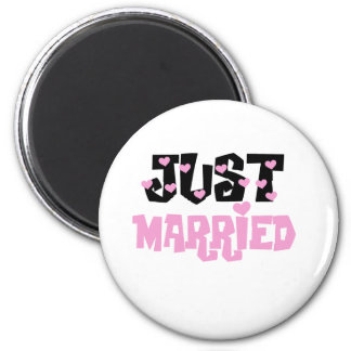 Pink and Black Hearts Just Married 2 Inch Round Magnet