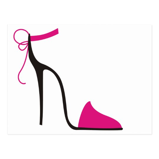 high heel template for cards - pink and black high heel shoe strappy postcard
