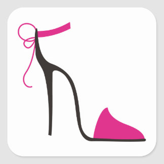 Pink and Black High Heel Shoe Strappy Square Sticker