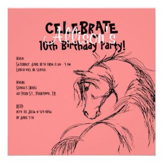 Pink and Black Horse Head Sketch Birthday Invite
