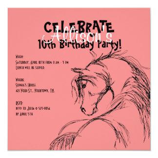 """Pink and Black Horse Head Sketch Birthday Invite 5.25"""" Square Invitation Card"""