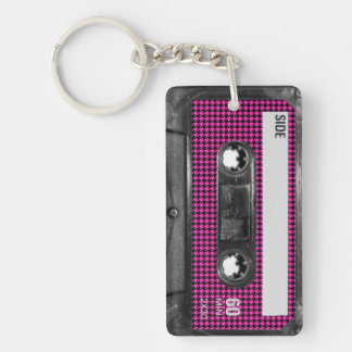 Pink and Black Houndstooth Label Cassette Keychain