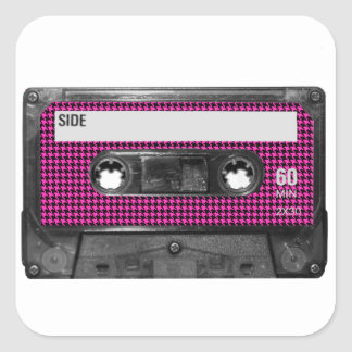Pink and Black Houndstooth Label Cassette Stickers