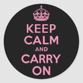 Pink and Black Keep Calm And Carry On Classic Round Sticker