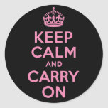 Pink and Black Keep Calm And Carry On Sticker