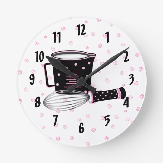 Pink and black kitchen clock zazzle - Black and white kitchen clock ...