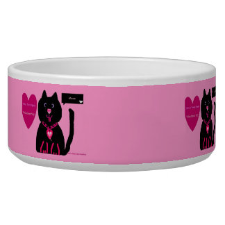 Pink and Black kitty Valentine Heart Pet food bowl