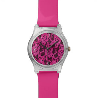 Pink and Black Lace Look Wrist Watch