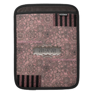 Pink and Black Lace Personalized iPad Sleeve