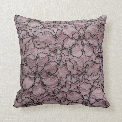 Pink and Black Lace Print Decorator Throw Pillow