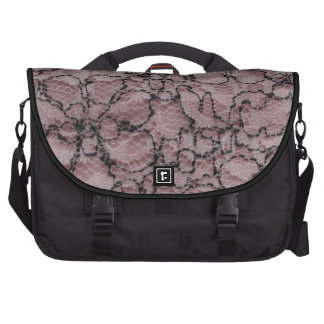 Pink and Black Lace Print Laptop Messenger Bag