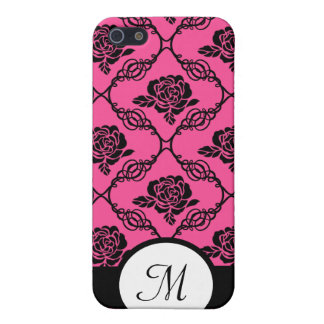 Pink and Black Lacy Floral Monogram Cover For iPhone SE/5/5s