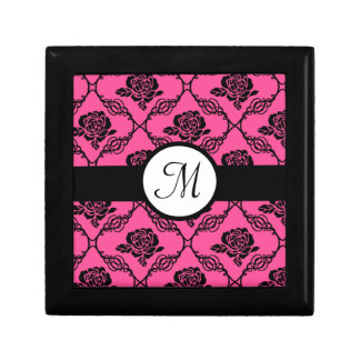 Pink and Black Lacy Floral Monogram Gift Box
