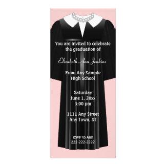 Pink and Black Ladies Graduation Invitation