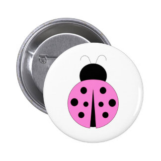 Pink and Black Ladybug 2 Inch Round Button
