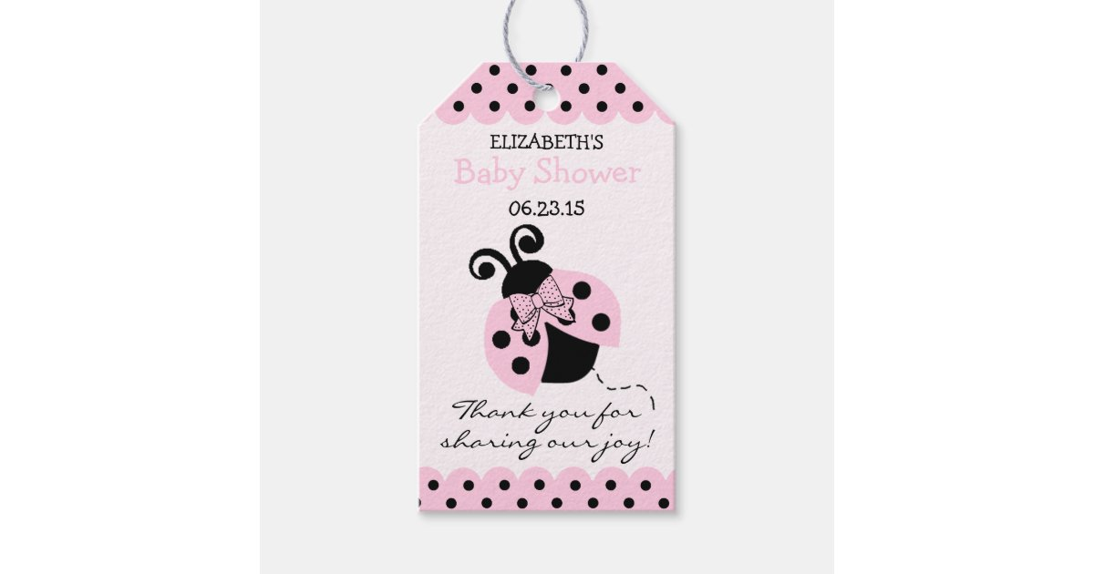 pink and black ladybug baby shower guest favor gift tags zazzle