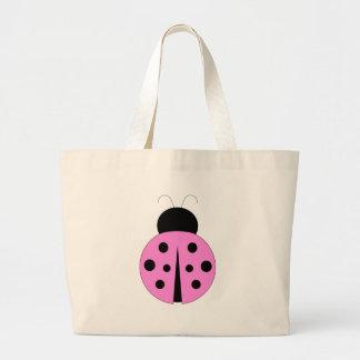 Pink and Black Ladybug Tote Bag