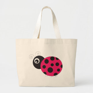 Pink and Black Ladybug Faded Tote Bags